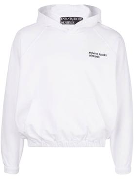 white cotton logo hoodie