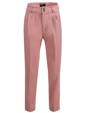 Pink Wool Pleated Trousers
