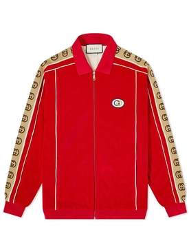 GG side panelled zipped jacket RED