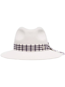 Henrietta check-ribbon hat