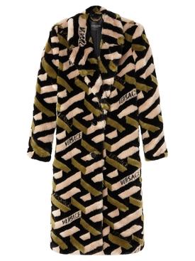 Monogram Faux Fur Coat Khaki and Black