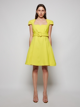 SATIN BELTED COCKTAIL MINI DRESS YELLOW