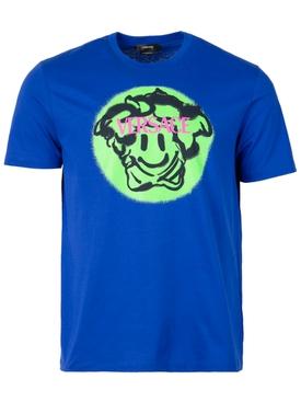 MEDUSA SMILEY T-SHIRT Lapis Blue and Lime