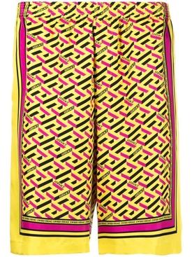 SILK MONOGRAM FOULARD PRINT SHORTS yellow and multicolor
