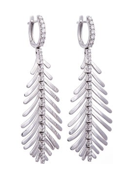 Sidney Garber - White Gold Feather Earrings - Women