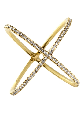 18k Yellow Gold And Diamond X Ring