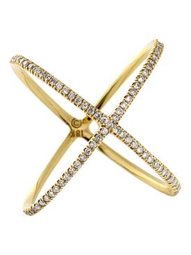 18k Yellow Gold And Diamond X Ring