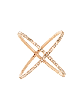 18kt rose gold pavé diamond X ring