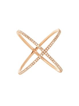 18kt rose gold pavé diamond X ring