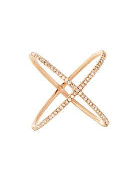 Eva Fehren - 18kt Rose Gold Pavé Diamond X Ring - Women