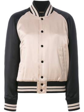 striped trim bomber jacket