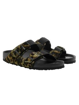Olive Leopard Print Slide Sandals