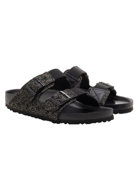 Black Brocade Slide Sandals