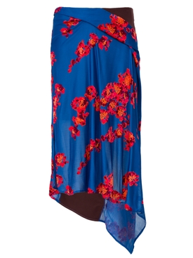 Jacquard Jersey Asymmetrical Skirt BLUE