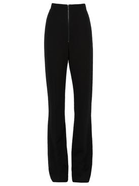 High Waist Zip Front Slim Trousers BLACK