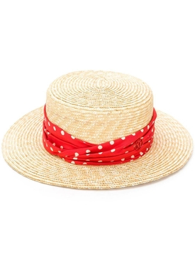 Red Kiki Canotier Polka Dot Straw Hat