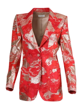 Red and Silver Brocade Tailored Blazer