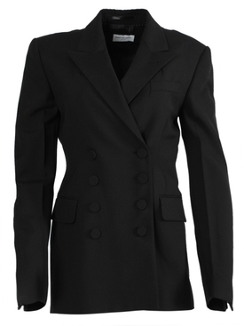 Black Double-Breasted Tailored Blazer