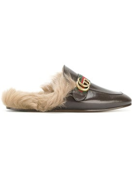 Gucci - Princetown Leather Slipper With Double G Dark Brown - Men
