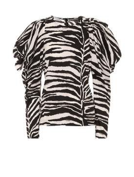 Sheer Leopard Print Button-Down Blouse