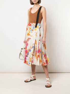 Multicolored Floral Print Wrap-Around Skirt