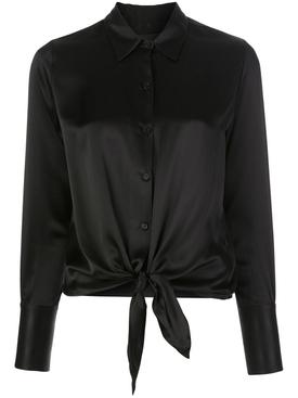 Janet Front-Tie Blouse Black