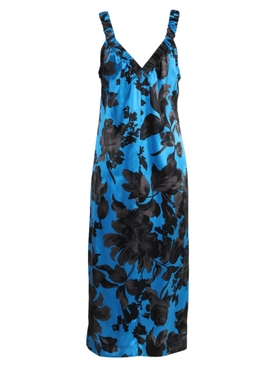 Blue and Black Floral Disto Dress