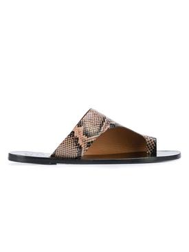 Asymmetric snake print sandal