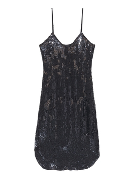 Black Sequin Camisole Dress