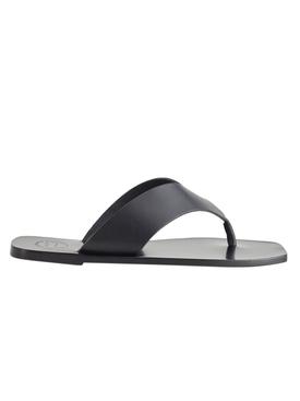 Black Merine Leather Sandals