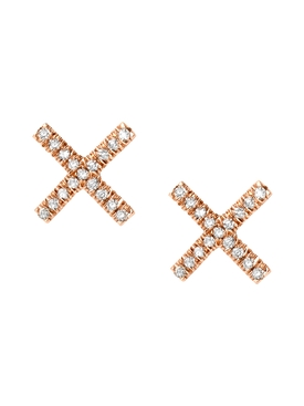 18kt rose gold X stud earrings