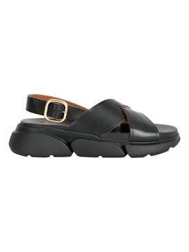 Barisci Vacchetta Leather Sandal, Black