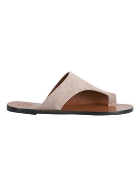 Rosa Suede Leather Sandal, Sand Beige
