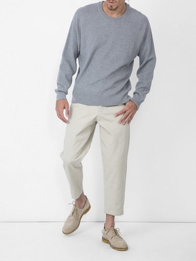 CREW NECK SWEATER SEED STITCH HEATHER GREY