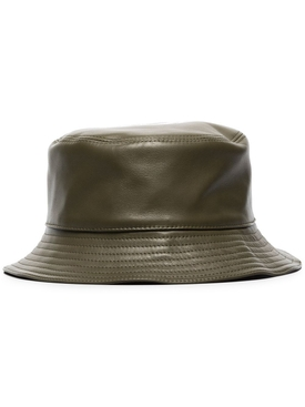 Leather bucket hat KHAKI GREEN
