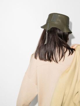 Leather bucket hat KHAKI GREEN