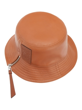 Leather bucket hat TAN