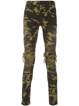 distressed camouflage jeans green