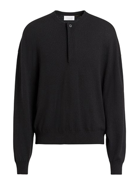 soft wool black button-up sweater