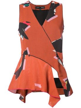 Proenza Schouler - Patterned V-neck Sleeveless Blouse Multicolor - Women