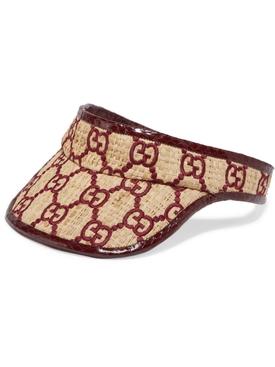 snakeskin raffia GG visor BORDEAUX