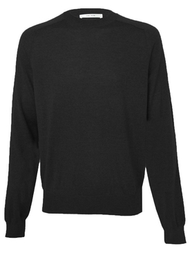 Merino wool scott crewneck sweater BLACK