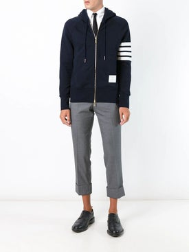 Thom Browne - 4-bar Zip-up Jersey Hoodi Navy - Men