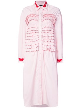 Simone Rocha - Beaded Smocked Shirt Dress Pink - Women