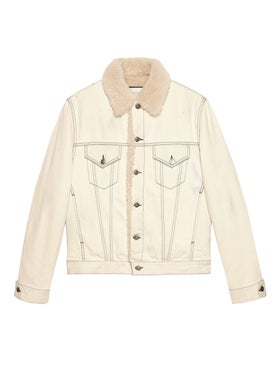Gucci - Shearling Lined Denim Jacket With Sketch Snake Print White - Men