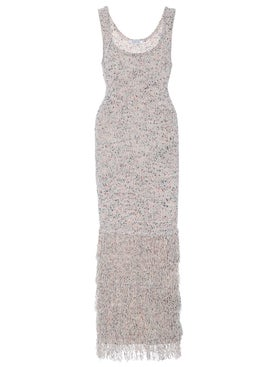 Cushnie - Sleeveless Midi Length Knit Dress With Tiered Fringe - Women