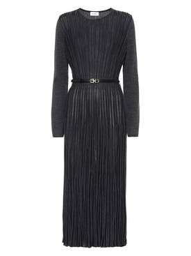 Salvatore Ferragamo - Black Pleated Knit Dress - Women