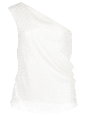 Cushnie - White Iridescent Paillette Asymmetrical Top - Women