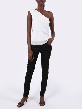 White Iridescent Paillette Asymmetrical Top