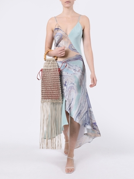 Water marble asymmetric slip dress